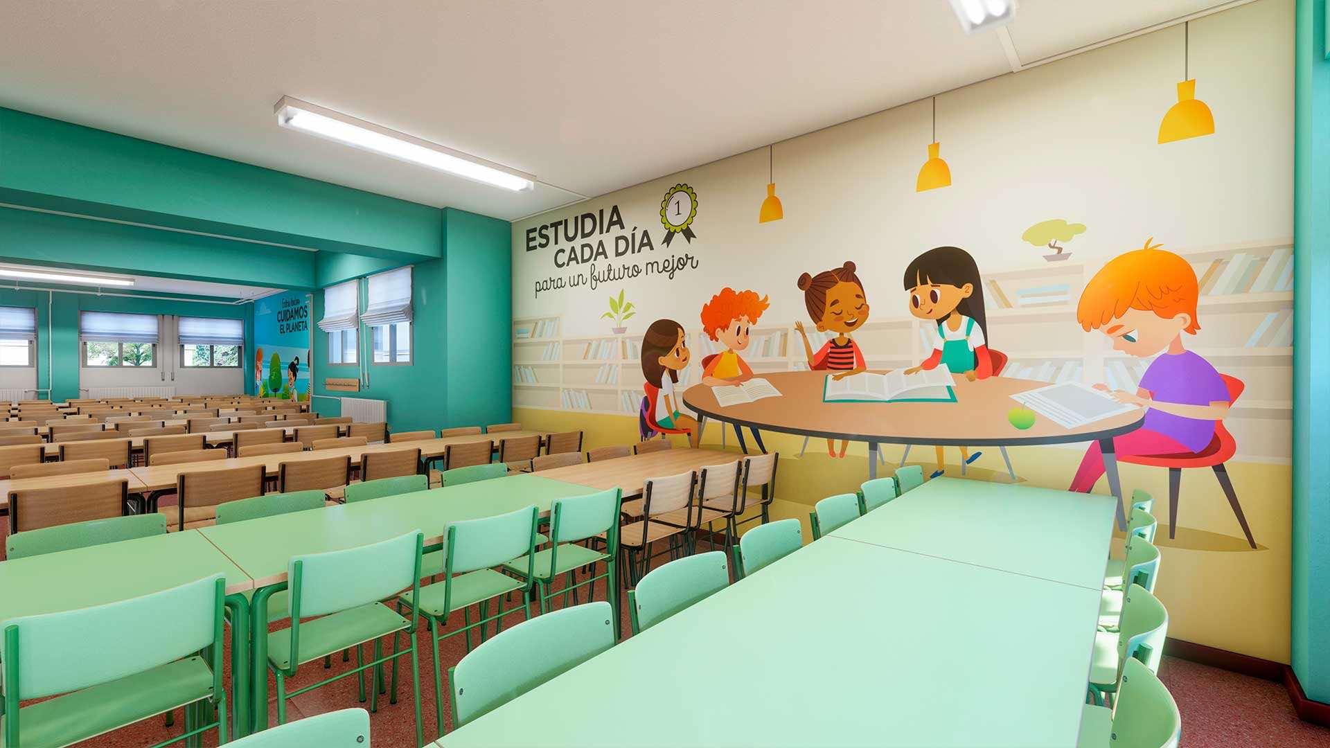 Diseño 3D para comedores escolares y Diseño gráfico | Diseño web ...